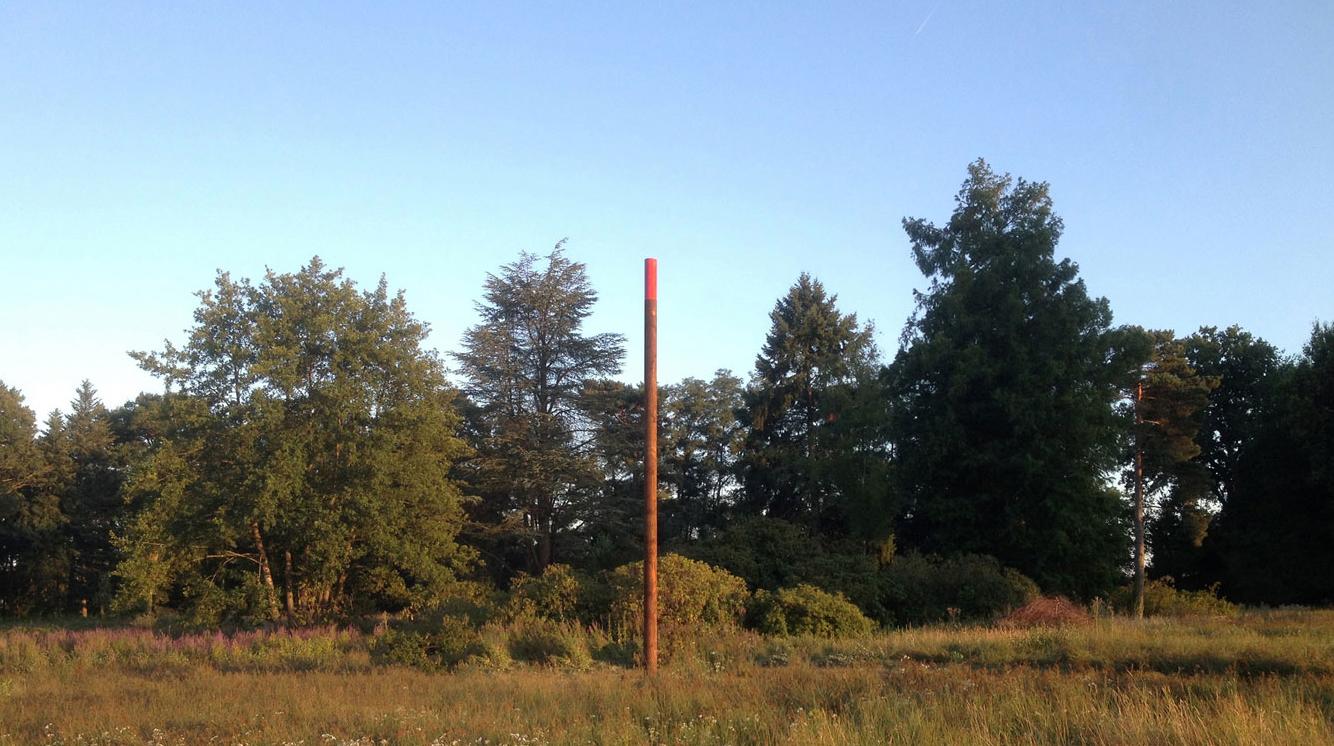 """""""Le point de fuite"""", Benjamin Rossi, Poutre en douglas, peinture glycéro rouge trafic, 10 x 30cm"""